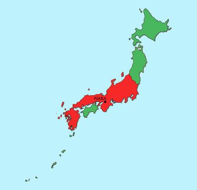 Nara Period Japan Module - Japan map nara