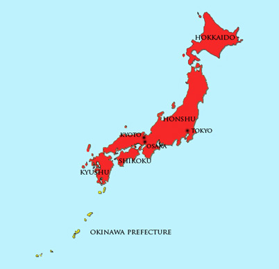 Postwar Period Present Japan Module - Japan map 1945